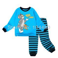 tom jerry cartoon unisex kids pajama sets,cheap toddler baby sleepwear,boys girls children christmas pajamas 2T/3T/4T/5T/6T/7T