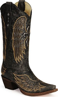 I wanna be a cowgirl! Well.. not really... at all... but I wanna be the owner of these boots! Corral Angel Wing Cross Cowboy Boots