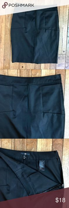 "Black sateen H&M pencil skirt w/pockets Excellent Preowned Condition.  Worn very little.  No flaws to note.  Soft, satiny material with a slight glean.  Side Zip w/Button.  Two square front pockets.  Slit in the back.  Approximate measurements taken with garment laying flat: waist 14.5"", hips 17.5"", length 20"" H&M Skirts Pencil"