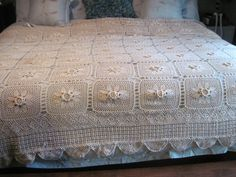 Gorgeous Vintage Crocheted Bed Cover Bedspread by vintageexchange, $99.00