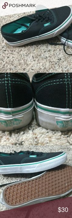 Vans Authentic black with teal stitching Excellent condition, hardly worn. Vans authentic black with teal stitching. Women's size 6. Which was too small for me wah wah ?? Vans Shoes Sneakers