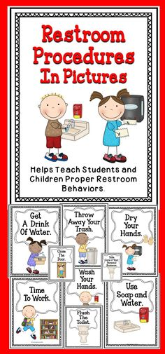 Help your students remember the restroom procedures by using these adorable posters. #tpt #teach