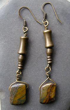 Tigers Eye Dangle Earrings Hippie Earrings by evolvedELEMENTS