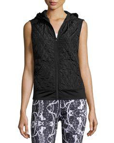 Neiman Marcus Active Hooded Quilted Zip-Front Vest, Black, Women's, Size: M