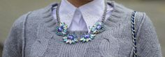 big necklace from second hand - brand: Lefties, sweater from second hand - brand: George, DIY collar