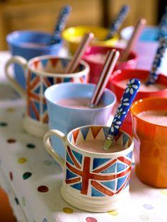 Love the Union Jack mugs. Apropos.