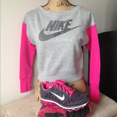 Nike Crew Pink Grey Black. Thumb holes. I think this may be GIRLS because the sleeves are short and its almost crop fit on my 15yo. Good conditionTrades Nike Tops Sweatshirts & Hoodies