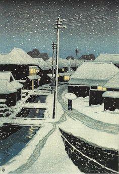 Evening Snow of Terajima Village, by Kawase Hasui, winter 1920.