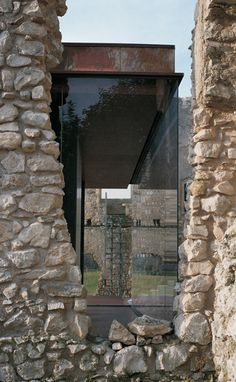 Looove the steel frame matched with awesome windows and stone work - Tea Room, Montemor-o-Velho, Portugal by João Mendes Ribeiro Architect Architecture Résidentielle, Contemporary Architecture, Amazing Architecture, Futuristic Architecture, Adaptive Reuse, Castle Ruins, Interior Design Companies, Stone Houses, Exterior Design