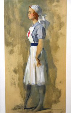 An oil painting, study of a nurse, indistinctly signed possible 'Bayendale', dated 1942, 62cm x 3