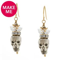 You'll be queen for a day with these BOO-tiful new metallic earrings featuring the Swarovski Crystal Skull Bead