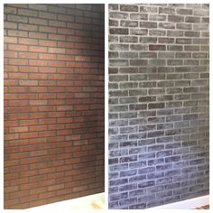 Faux Brick Wall Before & After Brick Panels + Chalk Paint + Water + Rags