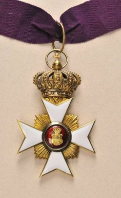 Reuss - Ducal Reuss Honor Cross class with crown. Gold partially enameled fine chisselled multiple parts medallion crown movable on long ready to wear neck ribbon. Putting On The Ritz, Military Orders, Brooch, Crown, Fancy, Personalized Items, Badges, Gold, Ribbon