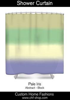 Pale Iris -  block abstract.  The shower curtain is $67. #shower curtains, #designer shower curtains, #fabric shower curtains, #abstract, #colorful, #green, #pale green, #purple, #pale purple, #cream