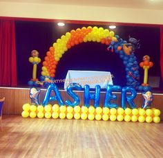Bob the builder balloon arch, colourful.