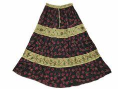 Amazon.com: Maxi Skirt Rayon Ari Embroidered Boho Skirt for Womens: Clothing
