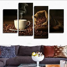 HCOZY 4 Canvas painting bean coffee lounge image Wall Art home decoration gift panels unframed far23 48x28 inch * For more information, visit image link.