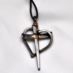 Nail Heart & Cross Necklace