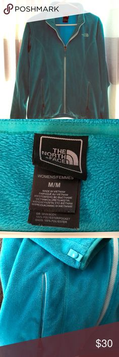 The North Face Women's jacket Very very soft fleece Women's jacket! Size medium. Light aqua teal with lighter aqua details. For a medium it's slightly large so true to fit! No cinch at bottom. The North Face Jackets & Coats