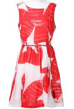 Red White Sleeveless Back Zipper Belt Dress