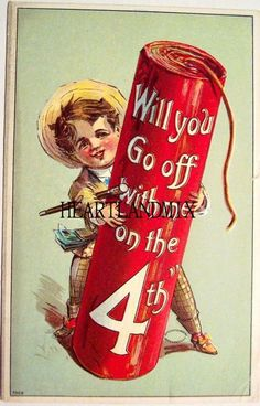 The of July is one of our favorite holidays. Beaches, barbecues and fireworks, what's not to love? So to get you in the Americana spirt. Vintage Humor, Vintage Cards, Vintage Postcards, Vintage Images, Funny Vintage, Holiday Postcards, Vintage Ephemera, 4th Of July Images, Patriotic Images