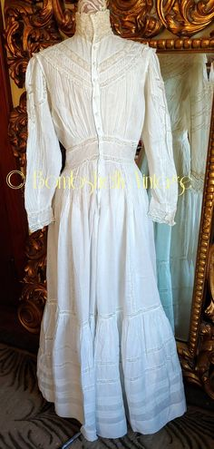 Antique 1890's White Cotton Victorian Wedding Dress   Etsy Bridal Gowns, Wedding Dresses, Lace Inset, Wool Dress, Celebrity Dresses, Bridal Style, White Cotton, Vintage Outfits, Victorian