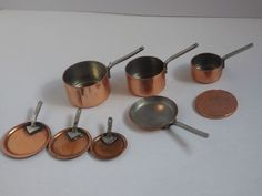 Bundle of copper pots and pans with lids & frying pan for victorian kitchen | eBay