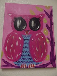 Baby Owl painting on 8x10 canvas. $20.00, via Etsy.