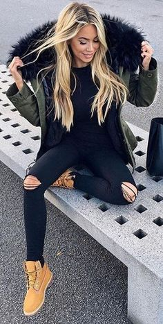 #fall #outfits Army Jacket // Destroyed Skinny Jeans // Camel Boots