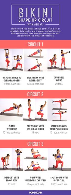 This Printable Circuit Workout Will Tone Every Inch of You Bikini Shape-Up Circuit With Weights! Fun circuit-style workout with dumbbells that's perfect for home or the gym. Full Body Workouts, At Home Workouts, Circuit Workouts, Fitness Workouts, Cardio, Total Body Toning, Home Weight Workout, Full Body Circuit Workout, Full Body Weight Workout