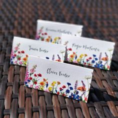 Wildflower place card settings available now as printed, hand-cut cards or as a digital file. Wedding Place Names, Wedding Place Settings, Wedding Name, Wedding Stationary, Wedding Invitation Cards, Wedding Cards, Wedding Favours, Invites, Woodland Wedding