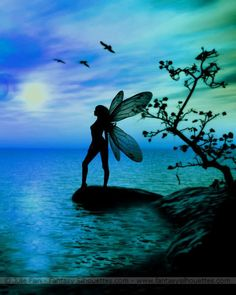 Silhouette of a fairy standing by the water… aqua / turquoise / blue sky