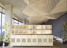 assemble studio features geometric origami ceiling #saltstudionyc