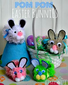 These Pom Pom Easter Bunnies crafted by @Trish - Mom On Timeout are perfect for your somebunny! {too cute}