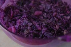 Red cabbage and tea can be used as an all-natural dye. The process produces a lavender dye but the spent cabbage turns a beautiful aubergine. Photo by this lyre lark: http://zgal.re/14guaSy