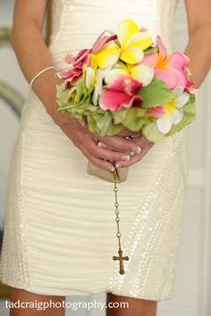 Pretty wedding bouquet for a destination wedding in Maui, Hawaii.  Photo by www.TadCraigPhotography.com