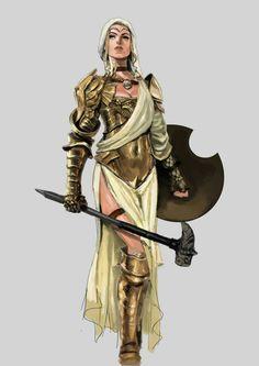 f Paladin Plate Shield Hammer midlvl Chandra Pandhita Female Character Concept, Fantasy Character Design, Character Creation, Character Art, Fantasy Girl, Fantasy Women, Fantasy Inspiration, Character Inspiration, Pathfinder Character