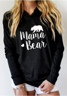 aebc1c8e0f0 2018 VESSOS Women Shirts Blouse Sweatshirts MAMA BEAR Printed Long Sleeve  Hoodie Pullover Letter Printed Summer