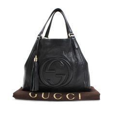 GUCCI Soho Totes Black Leather 282309