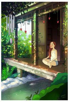 16 Illustrations That Show The Happiness Of Living Alone - Small Joys Living Alone, Joy Of Living, Girl Cartoon, Cartoon Art, Christopher Mccandless, Realistic Cartoons, Alone Art, Art Mignon, Digital Art Girl