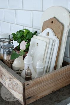 Rustic Kitchen Caddy -Reclaimed Wood Style Caddy- Wood kitchen Tray - Barn Wood…