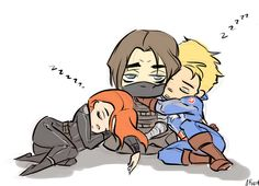 What happened when Natasha and Steve finally found Bucky. | awww, now I'm sad. Poor Bucky is the only one who can't sleep, and he looks like he hasn't had a nap in 70 years.