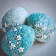 Needle felted blossom eggs by The Lady Moth spring eggs