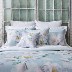 Embrace the colors of spring with the Ted Baker London Wilderness Comforter Set. A wash of white watercolor flowers scatters across the sky blue background and the subtly textured cotton fabric adds softness and luxury to this elegant bedding. Twin Comforter Sets, King Duvet Cover Sets, Duvet Covers, King Comforter, Queen Duvet, Watercolor Bedding, Rainbow Room Kids, The Colour Of Spring, Blue Bedding