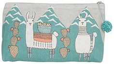 Llamarama Large Cosmetic Bag-A large cosmetic bag made from linen is perfect for storing your beauty essentials, accessories, toiletries and more. A herd of lovely llamas bedecked in woven blankets and floral necklaces trek through the Peruvian Large Cosmetic Bag, Travel Cosmetic Bags, Linen Bag, Floral Necklace, Knit Picks, Large Bags, Decorative Accessories, Decorative Boxes, Bag Making