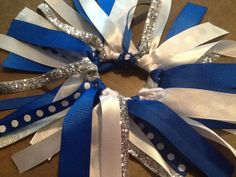 Large Royal Blue and White Hair Bow Cheer by BlinginBowMama, $8.00