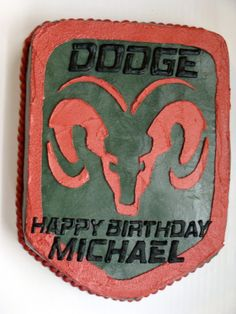 Dodge Logo - All buttercream with RI transfer letters.
