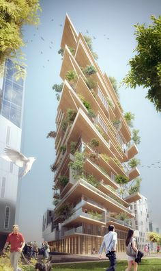 Jean Paul Viguier selected ahead of Sou Fujimoto for timber-framed tower complex in Bordeaux Architecture Durable, Futuristic Architecture, Sustainable Architecture, Sustainable Design, Residential Architecture, Amazing Architecture, Architecture Design, Facade Design, Timber Buildings