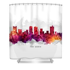 Fort Worth Texas Cityscape 14 Shower Curtain by Aged Pixel