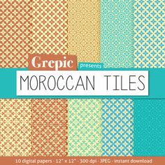 10 digital papers Moroccan tiles with moroccan patterns perfect for #scrapbooking